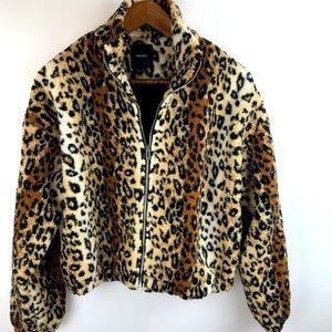 Cheetah print fleece jacket by Forever 21